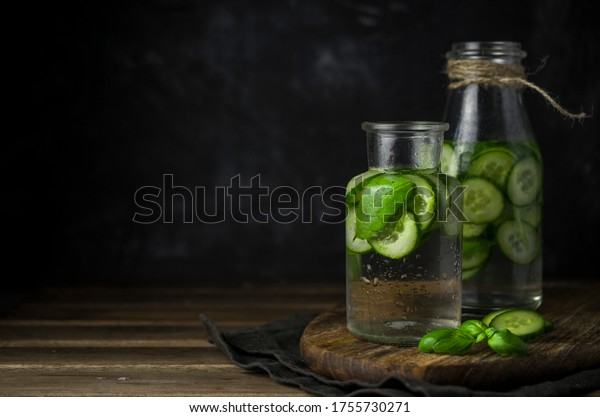 Cold cucumber lemonade with basil