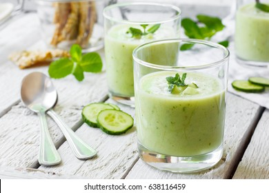 Cold cucumber soup with avocado and mint