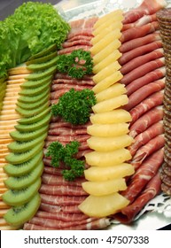 cold cuts on a buffet