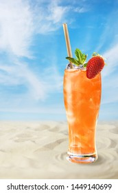 Cold drink on the beach
