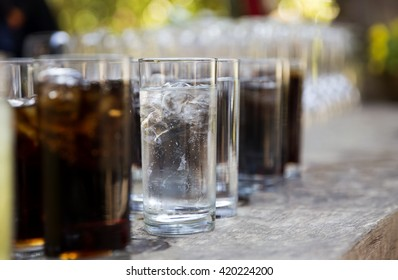 cold drinks on the table outdoors
