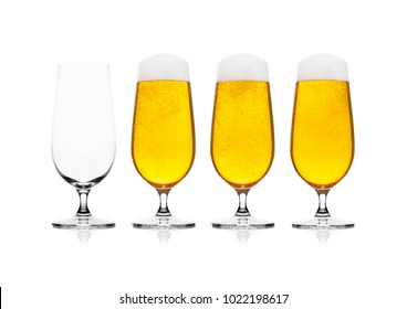 Cold elegant glasses of lager beer with isolated on white background with empty glass