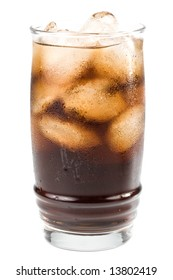 Cold fizzy cola with ice in a glass. Close up.