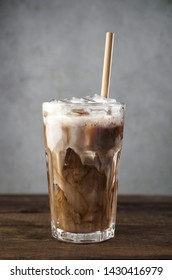 Cold frappe coffee with milk, iced coffee