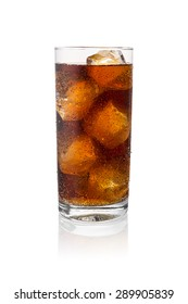 cold fresh cola in a glass with ice cubes isolated on white background