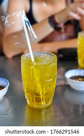 Cold fresh green iced tea in a bar in Saigon / Ho Chi Minh City. The weather is muggy warm, high humidity, the iced tea is refreshing at any time of the day.