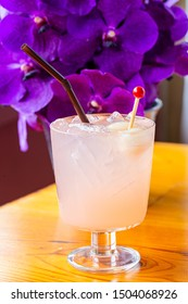 Cold fresh lemonade with lychee, lime and mint in glass ,A stunning collection of purple flowers ,Lychee, Drink, Drinking, Cocktail, Pink Color