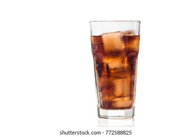 cold glass of cola isolated on a white background