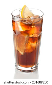 cold glass of iced lemon and cola on a white background