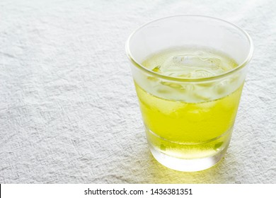 Cold green tea in a glass