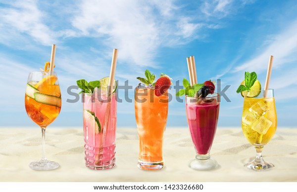 Cold holiday drinks by beach