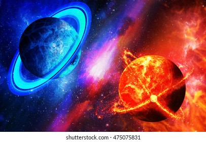 Cold and hot planet, opposition of planets. Space with planets, the concept of space diversity, planets, galaxies.