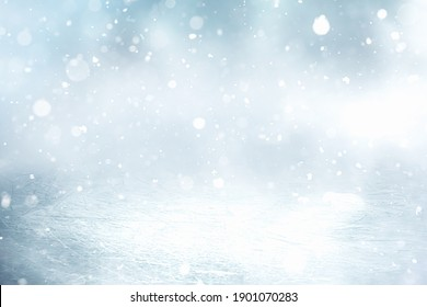 COLD ICE BACKGROUND WITH GLITTERING SNOW FLAKES AND WHITE BOKEH, ICY SURFACE, FRESH WINTER BACKDROP