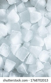 A lot of cold ice cubes. Top view.