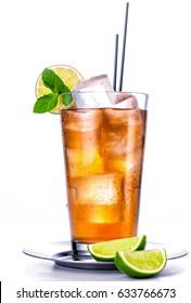 Cold ice tea with lemon and mint.
