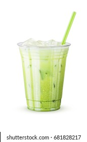 Cold Iced Green Tea Latte with Matcha and Milk in Generic Cup with Straw on a White Background