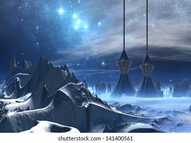 Cold and Icy Fantasy Alien Landscape - Computer Artwork