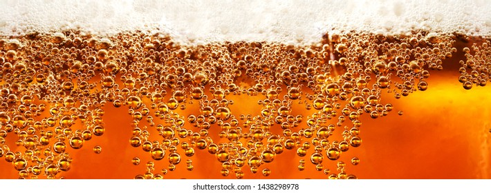 Cold lager beer drink with bubbles and drops