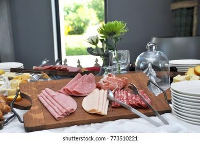 Cold meat buffet platter.