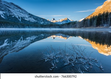 Cold morning at Wedge Pond, Kananaskis Country,Canadian Rocky Mountains, Alberta, Canada.