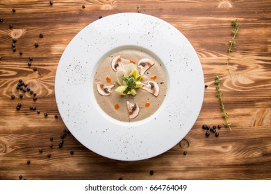 cold mushroom soup-puree with champignons