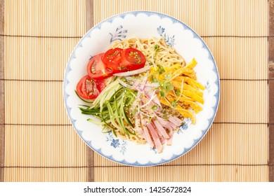 Cold noodles of Japanese food