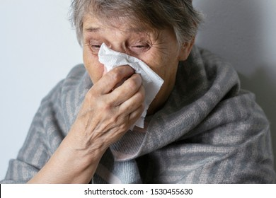 Cold. Portrait of a sad old woman, runny nose. An elderly woman has the flu and sneezes from a seasonal viral problem. Fever and cold in elderly with flu