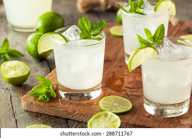 Cold Refreshing Iced Limeade with a MInt Garnish