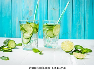 Cold and refreshing infused detox water with lime, mint and cucumber in a glass on wood background.