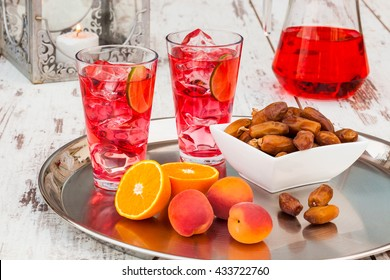 Cold refreshing syrup drink, sweet dates and fruit for iftar break fast during fasting month of Ramadan.
