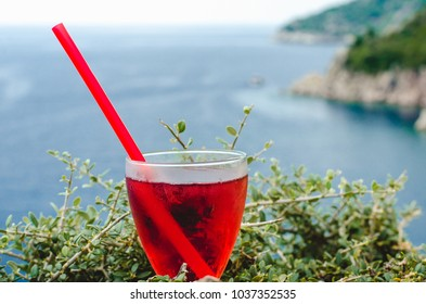 Cold Refreshing syrup Fresh Juice Drink sweet Straw Cherry Berries Fruit Summer Beach Island Sea Mood Colorful cocktai cranberry ice drink sea mountains background Diet Healthy detox vegeterian