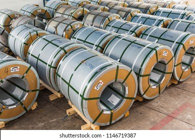 Cold rolled grain oriented electrical steel (CRGO) coils in storage area in warehouse, material for transformer core