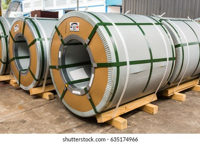Cold rolled grain oriented electrical steel coils in storage area in warehouse or in factory