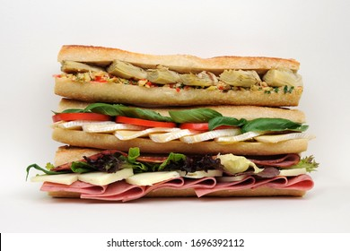 cold sandvich with meat and vegetables