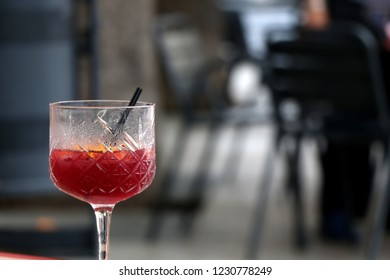Cold sangria served in a cafe. Sangria is popular Spanish alcoholic drink. Selective focus.
