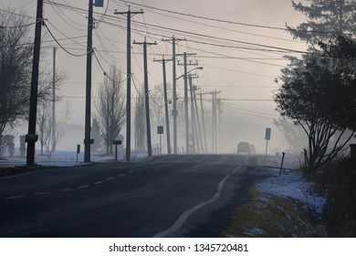 A cold silhouetted morning as a car on a rural road disappears into the thick fog in early Spring.