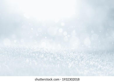 COLD SILVER ICE BACKGROUND WITH SOFT BOKEH LIGHTS, FROSTY WINTER BACKDROP FOR MONTAGE PRODUCTS AND CHRISTMAS PRESENTS