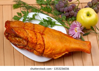 Cold smoked perch on white plate