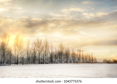 Cold and snow covered landscape on a winters morning with sunrise setting the sky on fire. Bare trees line the horizon and snow fields