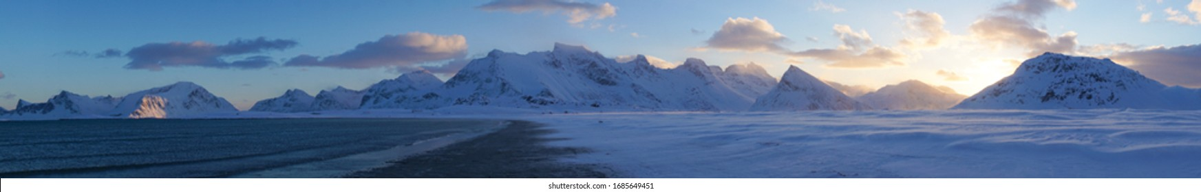 Cold snowy white winter landscapes near Fredvang village on the Lofoten Islands in Norway.