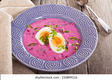 Cold soup with beetroot, eggs and kefir