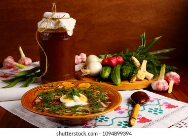 Cold soup Okroshka with meat, vegetables and kvass.