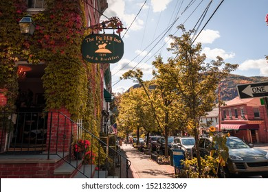 Cold Spring, NY, September 24, 2019:  The Pig Hill Inn Restaurant and B&B on Main Street on a beautiful fall day