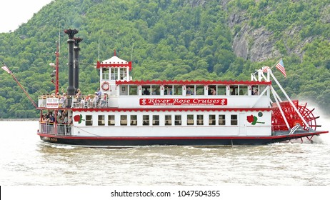 Cold Springs, US - July 2.2016: Authentic Mississippi paddle wheeler on the scenic Hudson River