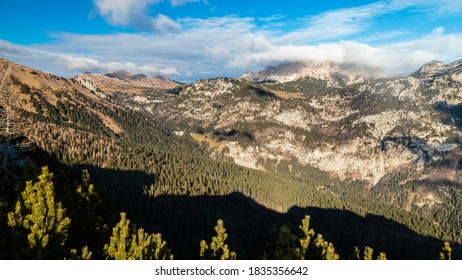 Cold but sunny day in the carnic alps during a colorful autumn