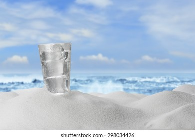 Cold Water Drink on Sandy Beach