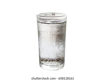 Cold water in the glass  isolated on white background