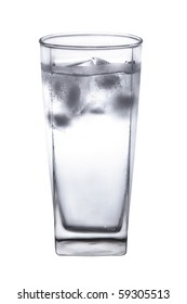 Cold water with ice cubes in a sweaty glass. Isolated on a white background.