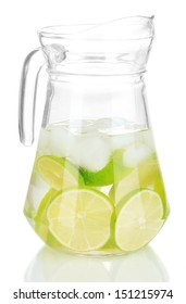 Cold water with lime, lemon and ice isolated on white