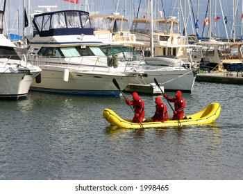 Cold water search and rescue boat and team search at marina on Lake Ontario